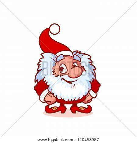 Smiling Christmas Gnome In Red Costume.