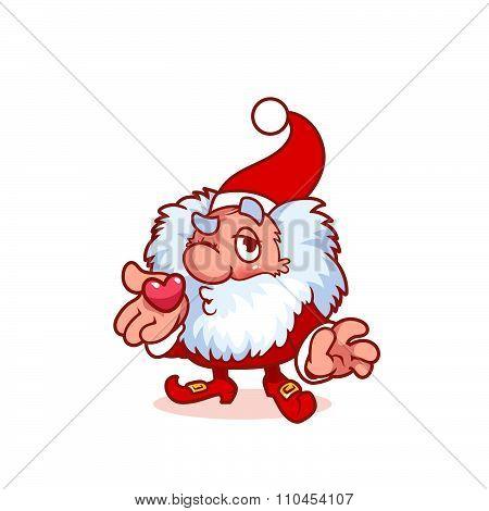 Christmas Gnome Blows A Kiss.