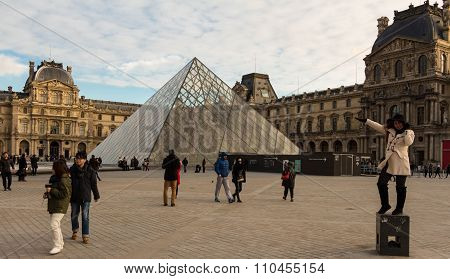 The Louvre Pyramid, Paris, France.