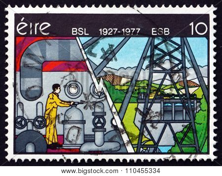 Postage Stamp Ireland 1977 Electricity, By Robert Ballagh