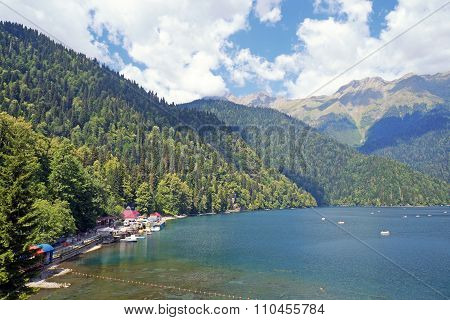 View Of Lake Ritsa And Mountains In Abkhazia In A Summer Sunny