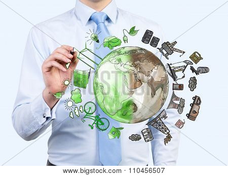 Man Pointing At Oil Production And Eco Energy Icons, Environment