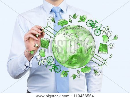 Man Caring About Clean Environment, Eco Energy, Protection