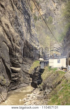 Chegem Gorge. Cafe On The Cliff