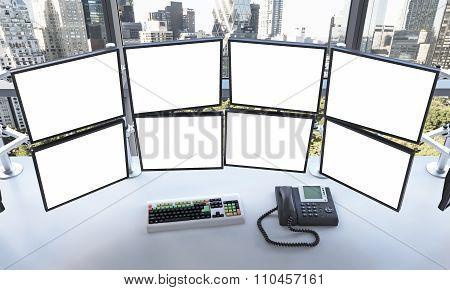 Office With Blank Monitors, Processing Data For Trading, New York