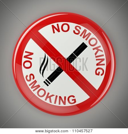 Circular no smoking sign over gray background with clipping path
