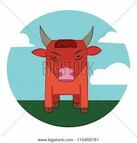 Bull On A Meadow, Sky With Clouds