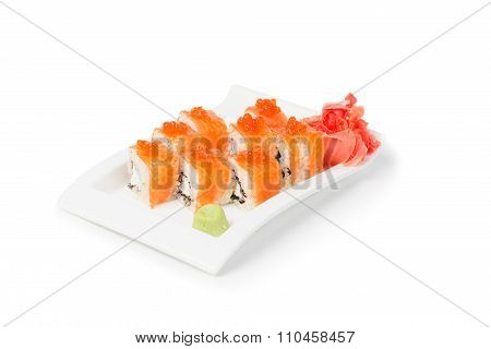 Sushi Set With Maki Served In A White Ceramic