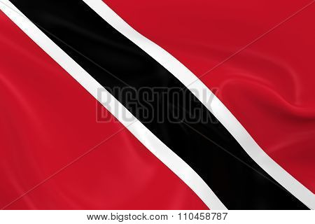 Waving Flag Of Trinidad And Tobago - 3D Render Of The Trinidadian And Tobagonian Flag With Silky Tex