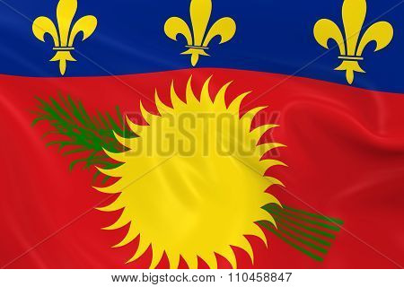 Waving Flag Of Guadeloupe - 3D Render Of The Guadeloupe Flag With Silky Texture