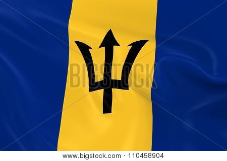Waving Flag Of Barbados - 3D Render Of The Barbadian Flag With Silky Texture