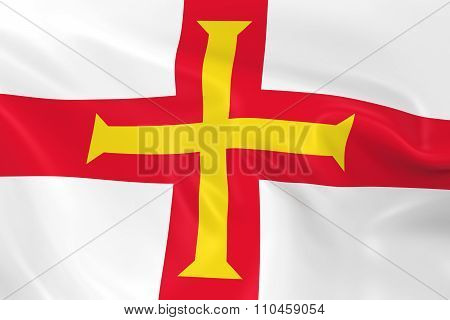 Waving Flag Of Guernsey - 3D Render Of The Guernsey, Channel Islands Flag With Silky Texture