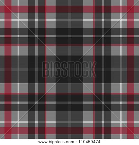 Vector seamless scottish tartan pattern in grey red black and white