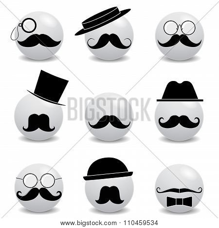 Hipster white smilies with mustache on white