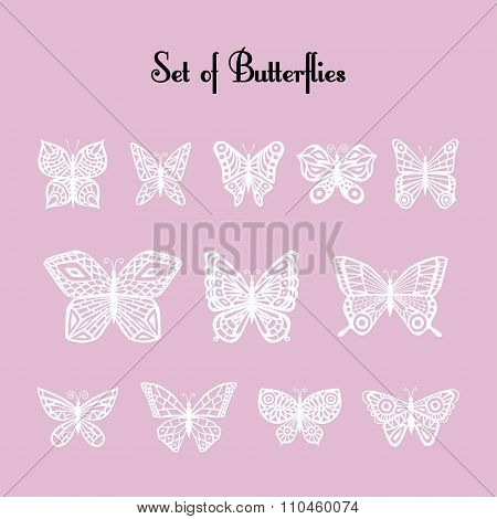 Set of vector of silhouette of butterflies. Twelve white butterflies on a light pink background.