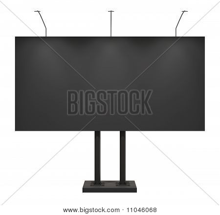 Blank Black Billboard, Front, Isolated On White