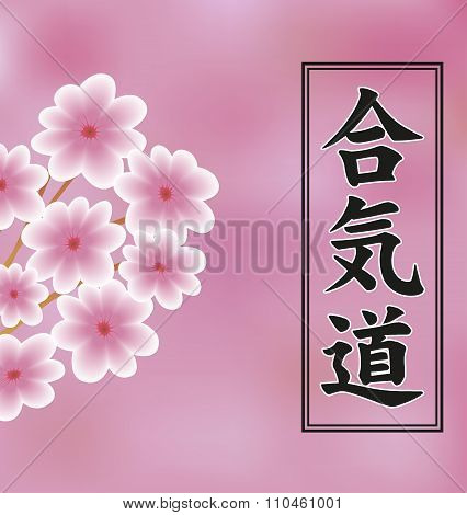 Hieroglyph Of Aikido And Flowers Of Trees On A Pink Background.