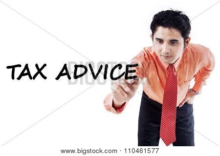 Young Consultant Showing Tax Advice