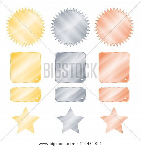 Set Gold Silver And Bronze Glossy Vector Stickers In The Shape Of A Circle With A Square Rectangle T