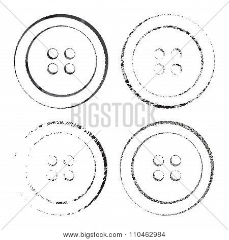 Silhouette Prints Or Vector Sewing Buttons In Black With Different Textures