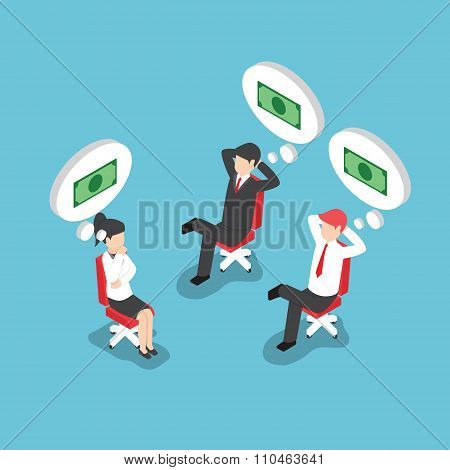 Isometric Businesspeople Dreaming About Money