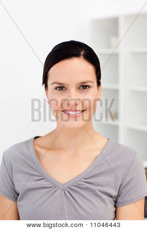 Portrait Of An European Woman In The Kitchen