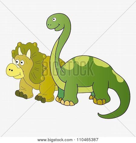 Brachiosaurus And Triceratops.