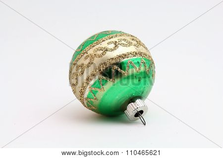 Antique green and gold Christmas ornament