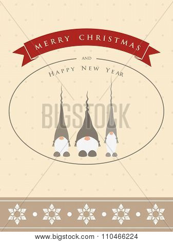 Vintage christmas card with three cute different gnomes