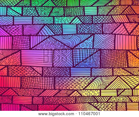 Zentangle Lines Rainbow Background 2