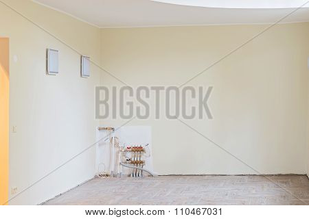 Walls of unfinished renovated living room