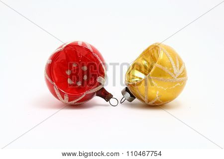 Two antique recessed Christmas ornaments