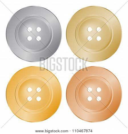 Vector Round Sewing Buttons Of Gold, Silver, Bronze, Brass