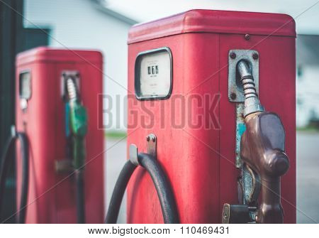 Classic Vintage Red Fuel Pumps.