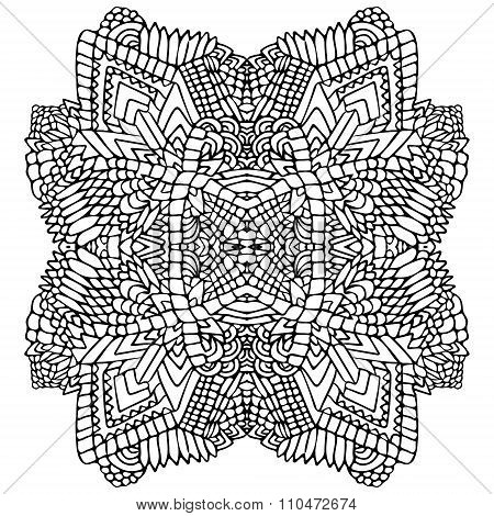 Zentangle Round Object Black White 1
