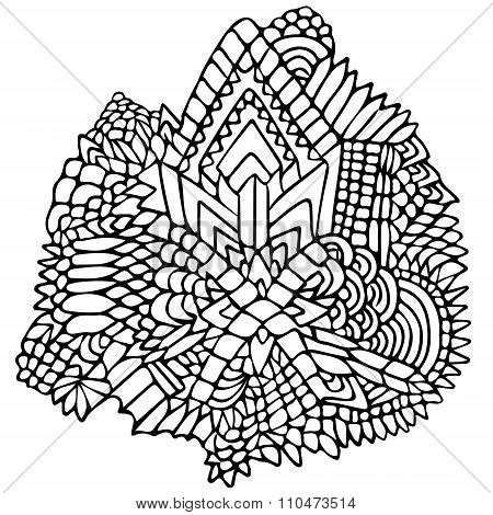 Zentangle Elements Figure Simple Black White 1