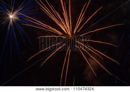 Yellow And Blue Fireworks