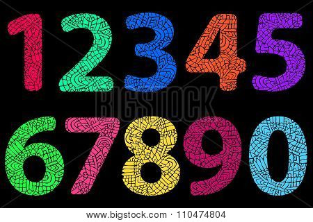 Zentangle Numbers Doodle Color Neon