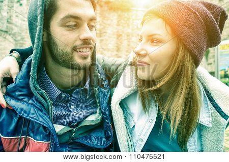 Beautiful Couple In Love In Winter Season -