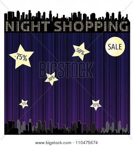 Vector Abstract Background With A Bar Code And The Silhouette Of The City At Night With Stars And Mo