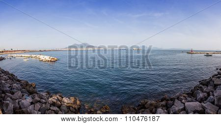 Panoramic View Of Gulf Of Napoli And Mount Vesuvius In Naples City, Italy