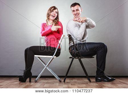 Couple Having Fun Pretend Hands Fingers Are Guns.