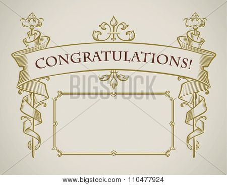 Vintage style congratulation card design of flowers wrapped with a banner. Raster image.