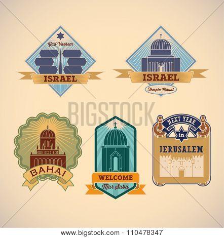 Set of retro-styled Israel tour labels. Raster image.