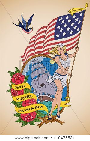Old-school US Navy tattoo of a sensual woman sailor with the US flag in her hands. Raster image.
