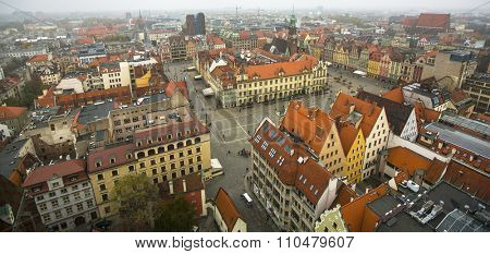 WROCLAW, POLAND - CIRCA NOV: Top view of Wroclaw old town from the top of the tower of the church of Saint Elizabeth. Wroclaw is going to be European Capital of Culture in 2016.