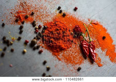 Spices On Vintage Background