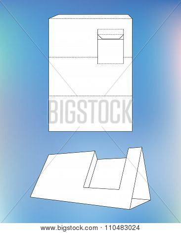 Business card display Box. Product Display Box with blueprint layout. Business card holder and die-c