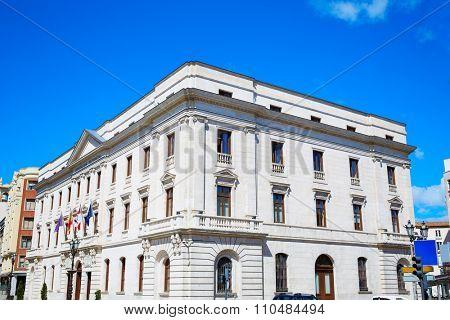 Burgos downtown buildings facades in Castilla Leon of Spain