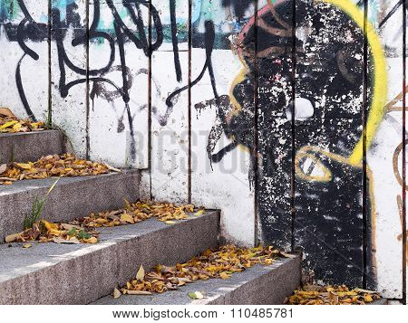 VARNA - 18 November, 2015: Detail of drawing on a concrete wall Perspective. Grunge concrete surface